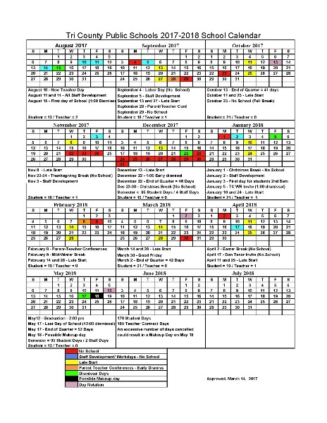 2017 2018 tri county public school calendar approved