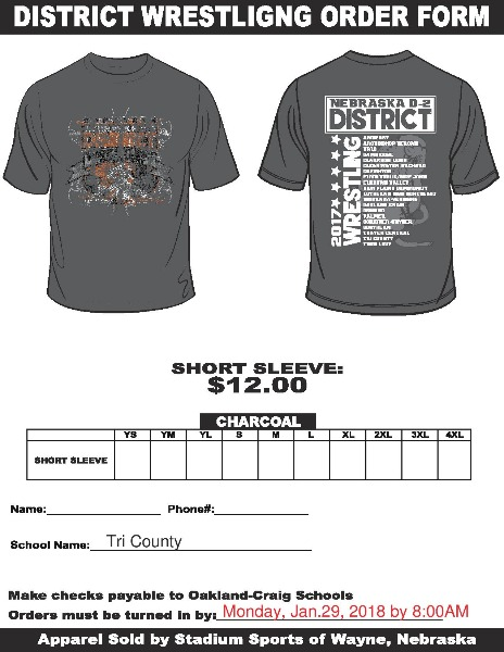 Tri County Public Schools  District Wrestling TShirt Order Form