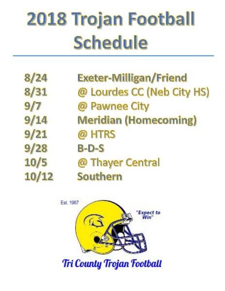 Tri County Public Schools 2018 Football Schedule